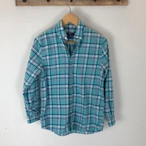 Vineyard Vines whale plaid shirt, teal and pink